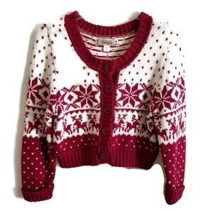 Decree Women's Cropped Red Cardigan Knit Sweater